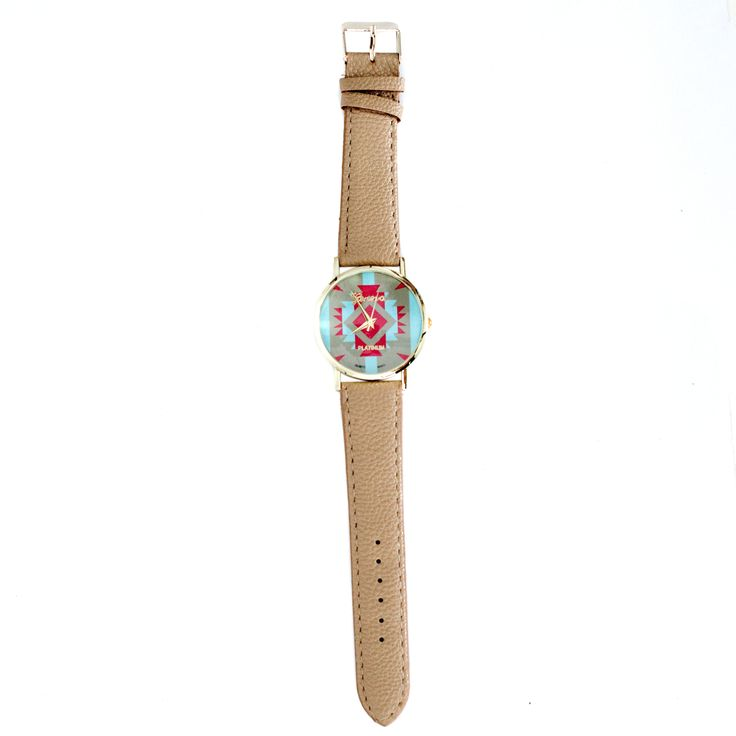 collections-by-h   Aztec watches     £16.00            Beautiful Aztec print ladies watch.  This watch has a beige strap which compliments the turquoise blue print and gorgeous gold face surround. Worn alone or with gorgeous gold bangles this watch will undoubtedly set off any outfit.