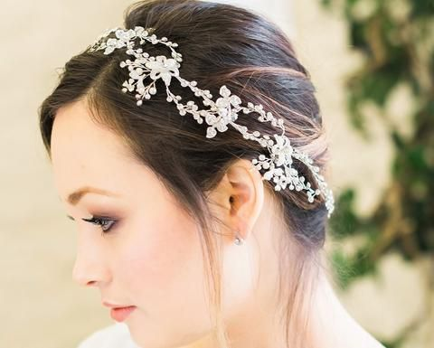 Kelly Wedding Silver Crystal Hair Vine