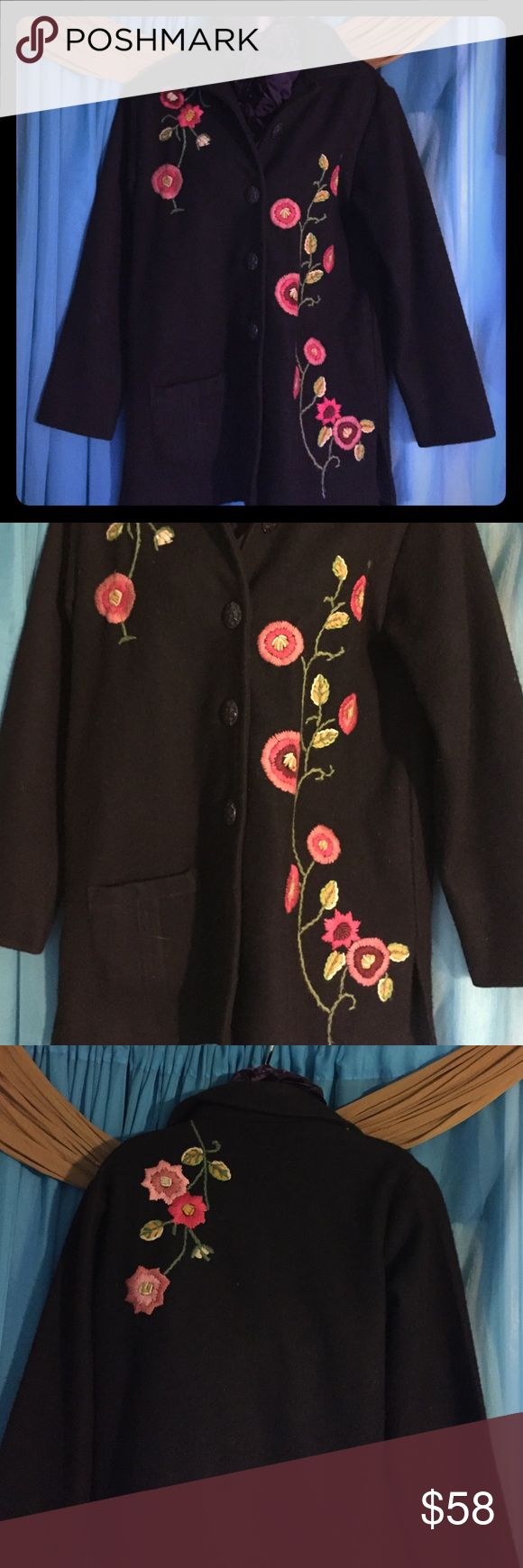 PARSLEY & SAGE  100% Wool Jacket-Size Small Black 100% wool, lined jacket with floral embellishments and front pocket. Bought at a boutique in Florida. Retails at $265 Parsley&Sage Jackets & Coats