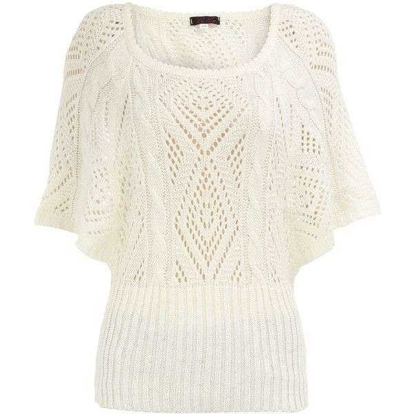 Cream batwing knitted jumper ($17) ❤ liked on Polyvore featuring tops, sweaters, shirts, blusas, t-shirts, women, acrylic sweater, white jumper, ribbed sweater and shirt sweater