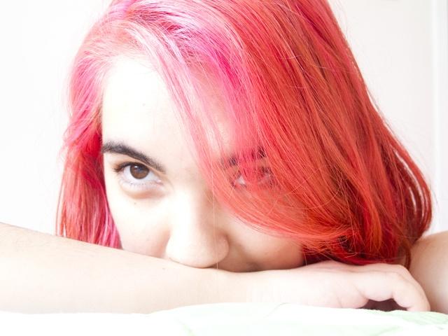 ahí está, mi pelo rosa.