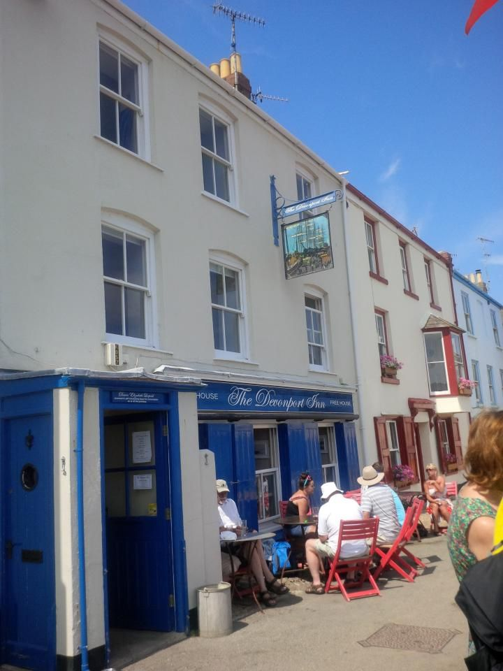 The Devonport Inn, Kingsand - lovely gastro-pub with a French chef-patron Jerome. In a stunning setting overlooking the sea. Very dog friendly both inside and out. Bookings advised.   The pub is accessible, and has accessible loos.