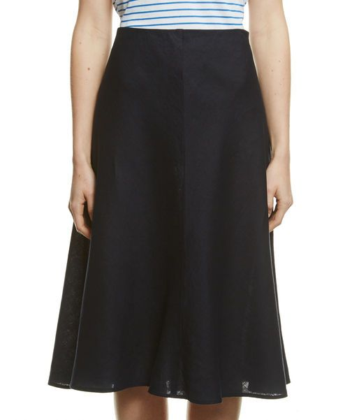 Navy, linen, subtle-A-line skirt