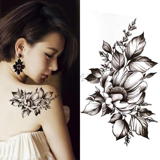 Black big flower Body Art Waterproof Temporary Sexy thigh tattoos rose For Woman Flash Tattoo Stickers 10*20CM