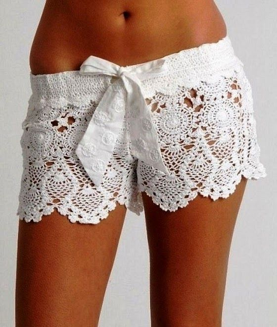 "Fancy Crochet Letarte Shorts.. To get ready in with a white tank that has ""Bride"" in diamonds, & a white, silk bath robe with white fuzzy slippers."