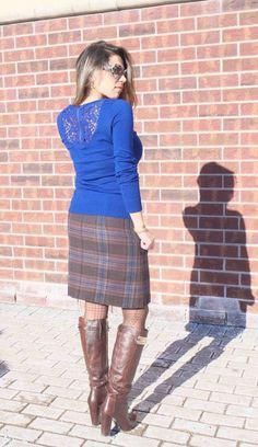 Electric blue sweater with lace and zipper detailing at back. Plaid skirt with brown Nine West boots. Link up & my Week's Fitness Hacks + Fashion Less...