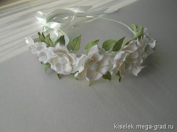 Свадебный венок на голову. - полимерная глина, дизайнерская заколка/украшение для волос. МегаГрад - город мастеров и художников