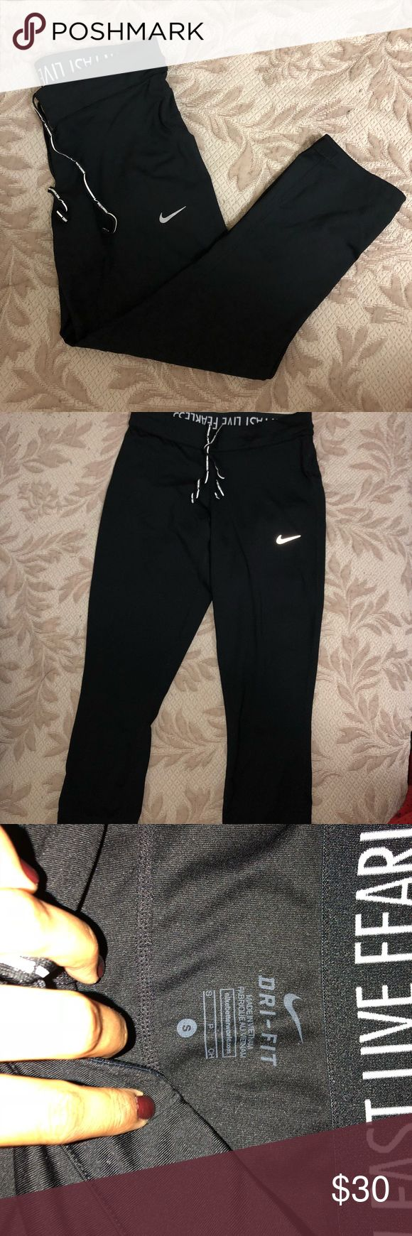 Nike running tights Women's Nike Dry-Fit relay crop running tights in size small. Only wormed once so in perfect conditions Nike Pants Track Pants & Joggers