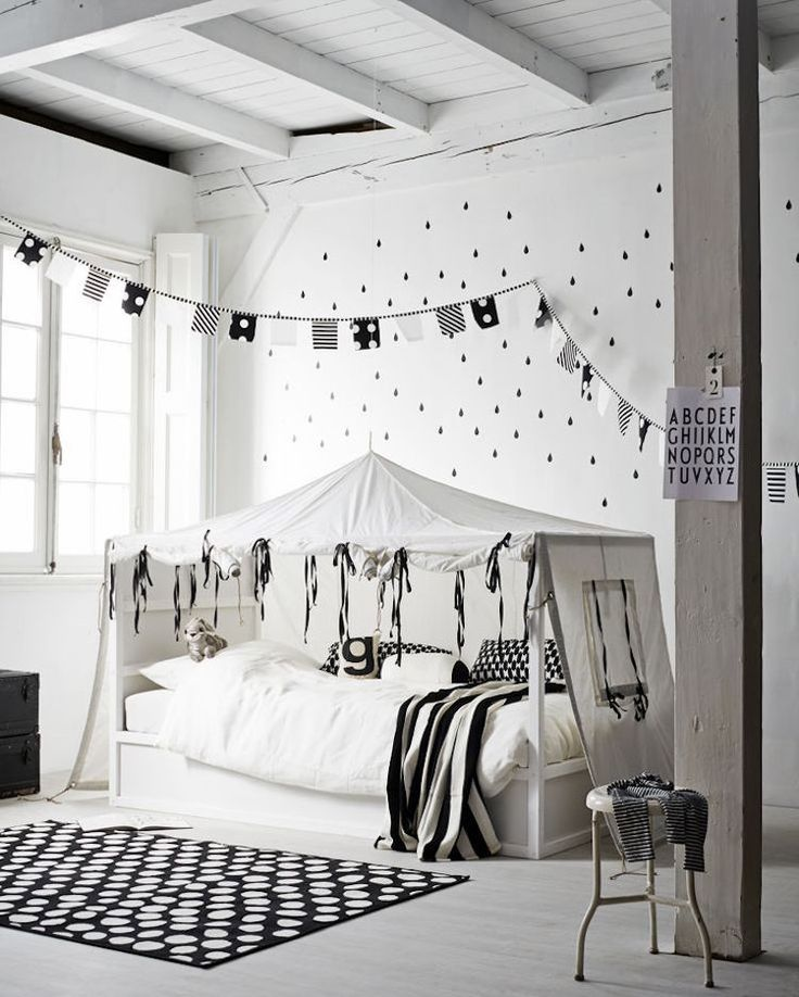 Hochwertig Ikea Kura Bett Umgestalten Schwarz Weiss Zelt Skandinavisch #bedroom #kids