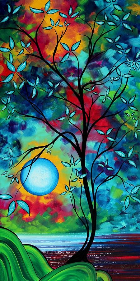 Abstract Art Landscape Tree Blossoms Sea Painting Under The Light Of The Moon I  By Madart Painting