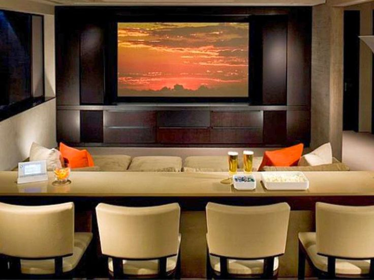 Home Theatre Design Interior Accesories Decors Custom Cream Vinyl Stools As Well Long Counter Theater Furnishings Added Built In Brown