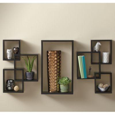 7-Piece Interlocking Wall Shelf Set in Black - BedBathandBeyond.com