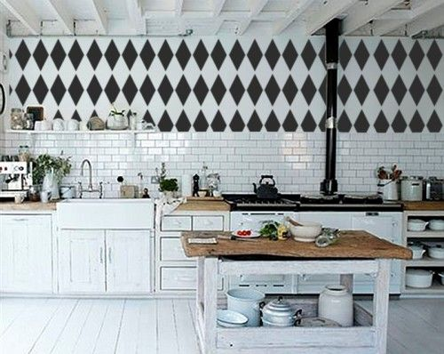 Behang Keuken Kwantum : Diamond Harlequin Wall Stencil