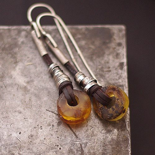 Baltic amber earrings •  raw silver • sterling silver  925 • leather earrings • earthy jewelry