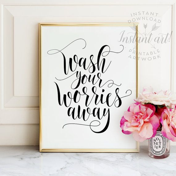 Wash Your Worries Away Bathroom Wall Art By Thecrownprints On Etsy