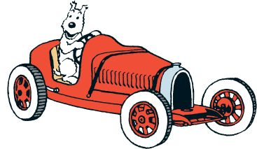 Snowy in Abdullah's red pedal car roadster • Tintin and the Land of Black Gold • Tintin, Herge j'aime