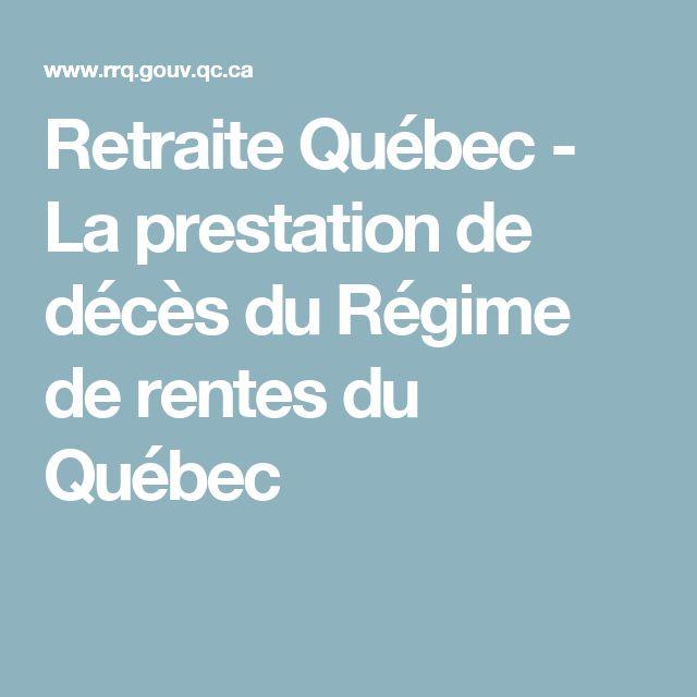 Retraite Québec - La prestation de décès du Régime de rentes du Québec