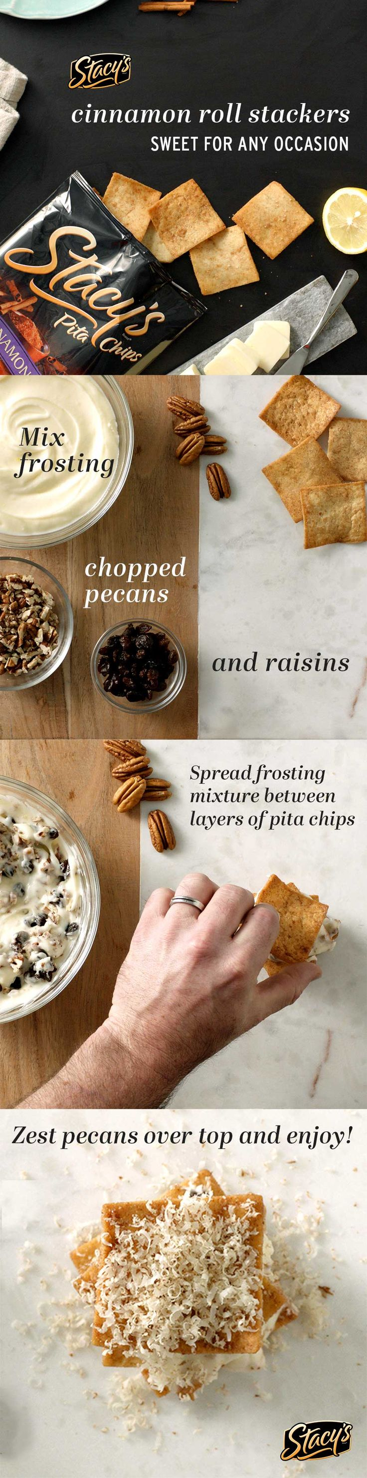 Stacy's® Cinnamon Sugar Pita Chips, cream cheese frosting, raisins, and toasted pecans are the perfect combination for a sweet treat that's simple to create in under 15 minutes!