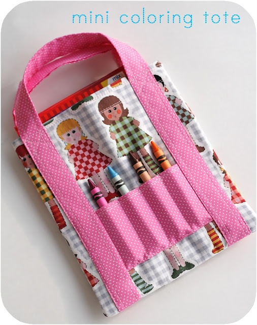 Mini Coloring Tote tutorial; the tutorial is so easy to follow, with GREAT instructional photos