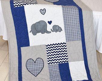 Elefante bebé a manta, colcha de cuna azul marino gris, Chevron niños ropa de cama, niño Patchwork Bespread