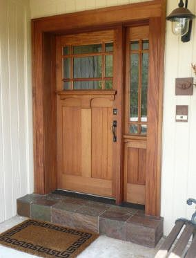 craftsman style front door with single side light, would let good light into the entry way