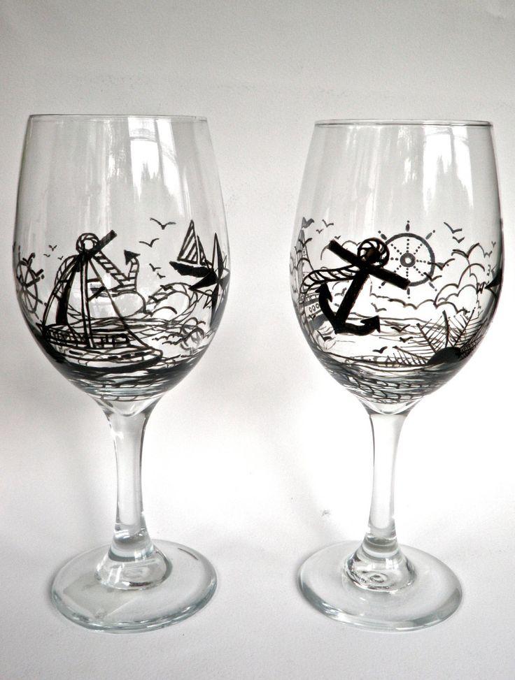 Hand Painted Wine Glass - Nautical. $16.00, via Etsy.