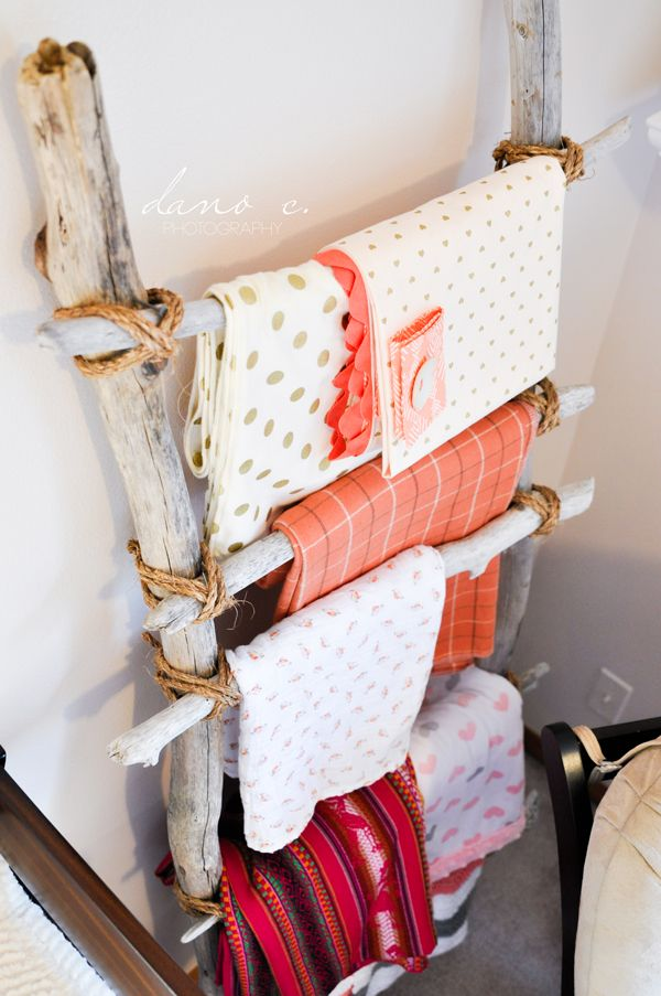 Driftwood Blanket Ladder - great inexpensive nursery decor idea! |Project Nursery