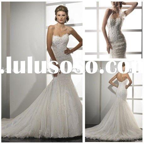 2011 Modest Mermaid Style Lace Wedding Dresses Canada