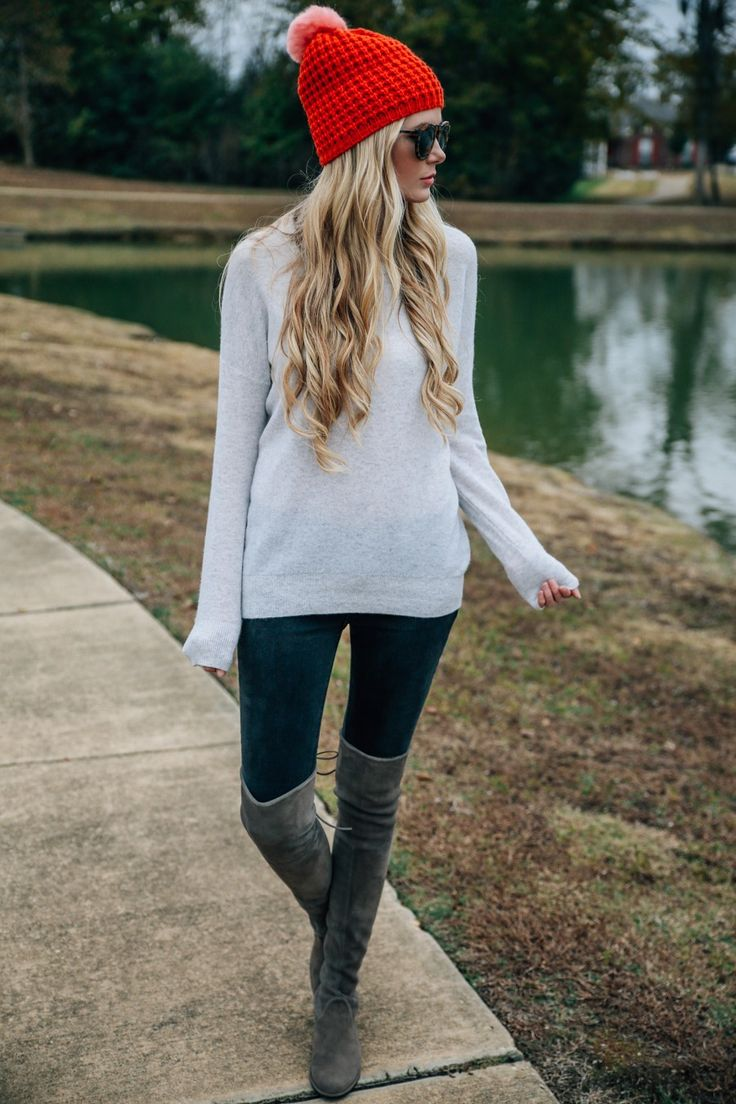 anthropologie beanie, vince sweater, rag & bone jeans, karen walker sunnies, stuart weitzman boots