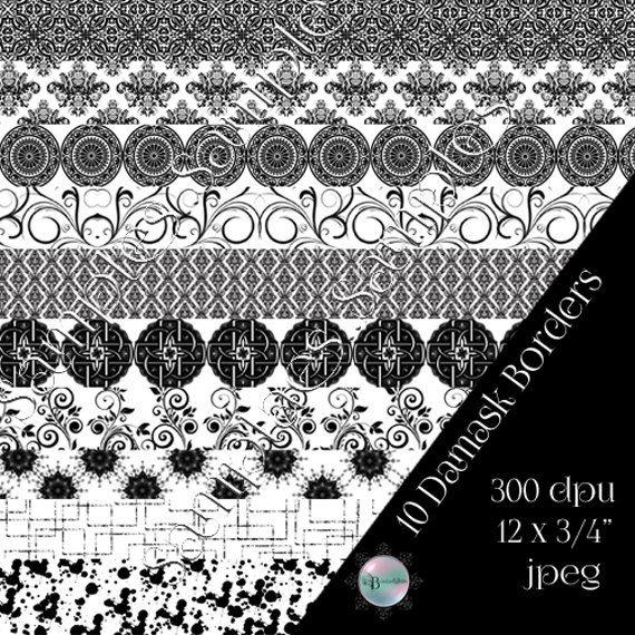 10 Black on White Damask Digital Borders  12inch by Beauladigitals