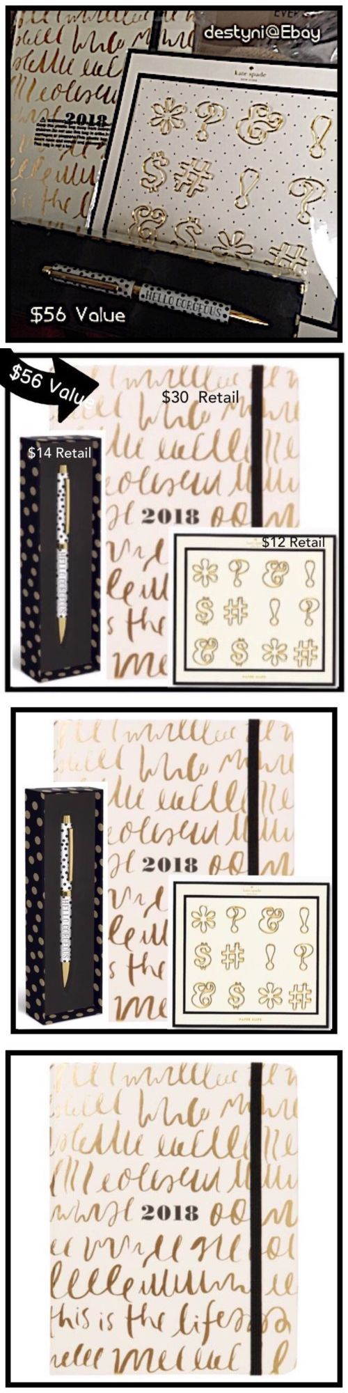Organizers and Day Planners 15735: Kate Spade New York Medium Agenda 2017- 2018 This Is The Life Paper Clip Set Pen -> BUY IT NOW ONLY: $35 on eBay!