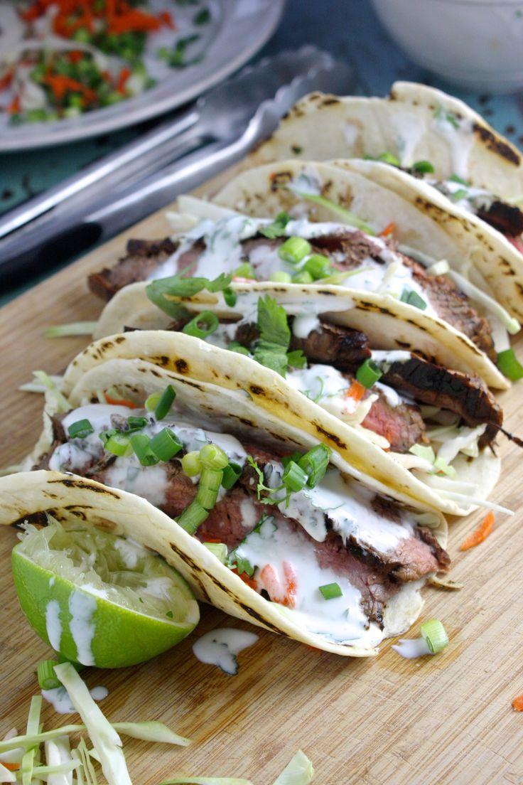 Flank Steak Tacos with Cilantro Lime Yogurt Sauce -- TheGarlicDiaries.com