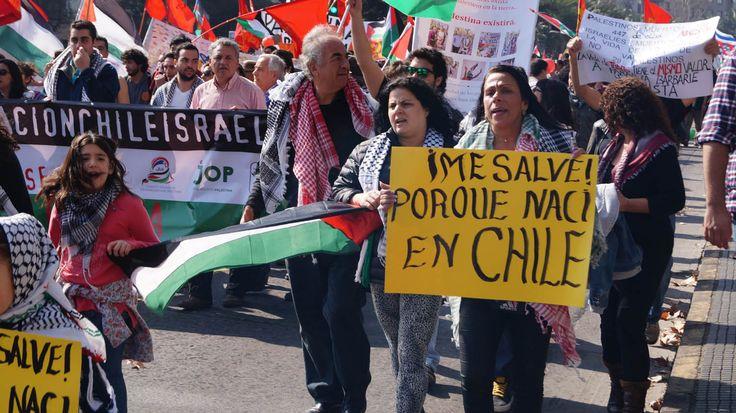 Comunidad Palestina realiza marcha en Santiago Chile