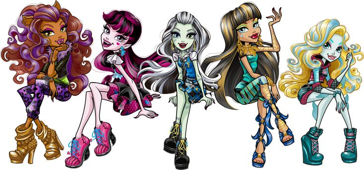 Frankie Stein, Draculaura, Clawdeen Wolf, Cleo de Nile and Lagoona Blue. Basic. How do You Boo (First Day of School). NEW Profile art