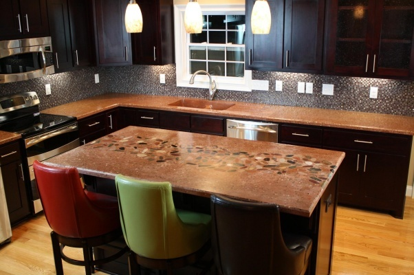 Concrete Countertops River Rock Inlay  Home Improvement