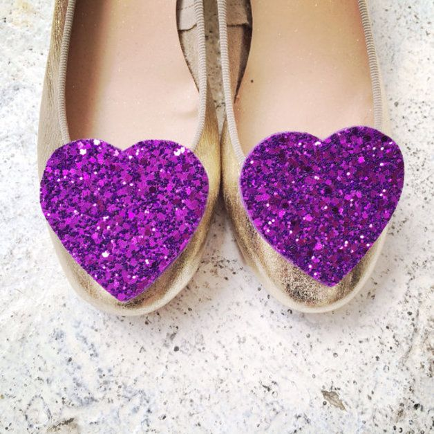 via en.dawanda.com Wedding Accessories – Big Purple Glitter Heart Shoe Clips – a unique product by pollymcgeary on DaWanda