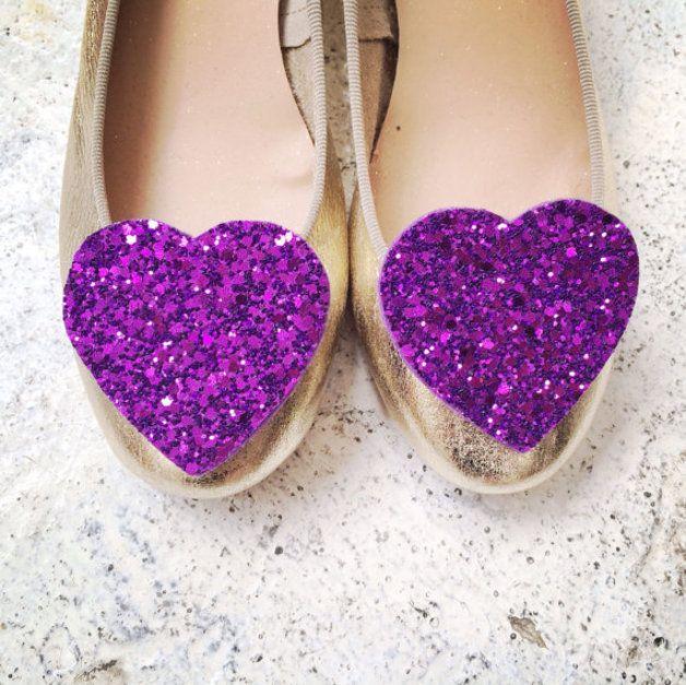 via en.dawanda.com Wedding Accessories – Big Purple Glitter Heart Shoe Clips – a unique product by pollymcgeary on DaWanda