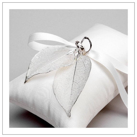 Ring Pillow Real leaves I pearl silver plated leaves on cream by woomipyo, $45.00