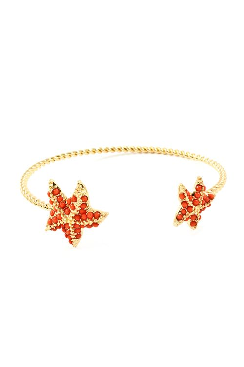 Starfish Cuff Bracelet in Dotted Coral
