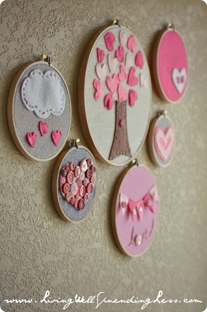 Valentines Day embroidery hoop art--cute  easy craft project to do with kids #valentine #craft #idea {Living Well  Spending Less} (I like the tree! Could do with construction paper with my kids)