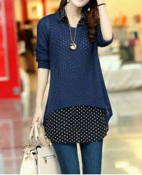 $9.01 Polka Dot Pattern Net Hollow Out Asymmetrical Hem Cotton Blend Color Matching Twinset Knitwear For Women