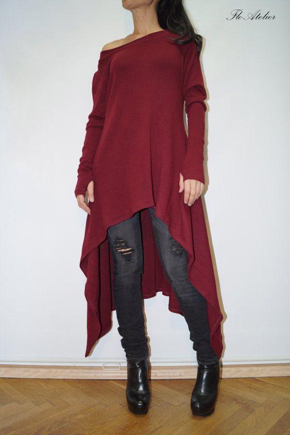 Red Asymmetrical Sweater/ Top Sweater Dress/Knitwear Dress/Long Women Knitted Sweater Coat/Loose Plus Size Sweater  Blouse/F1353