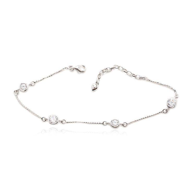 Amazon.com: 925 Sterling Silver Bracelet 4 Round Cubic Zirconia Box Chain: Jewelry