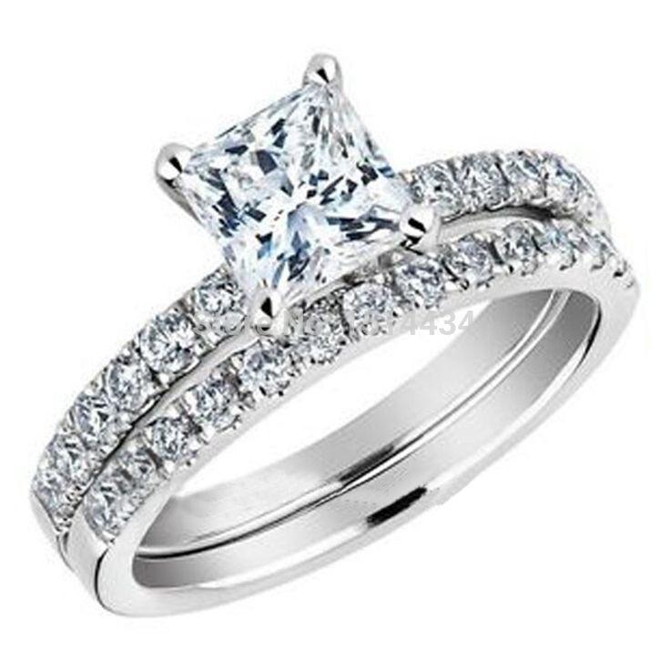 Fabulous Wedding Ring Princess Cut Diamond Engagement Ring and Wedding Band Set Carat ctw in White Gold