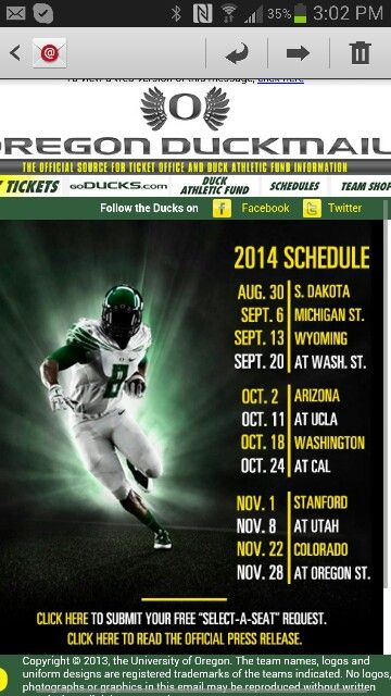 2014 Oregon Duck Football Schedule.....GO DUCKS!