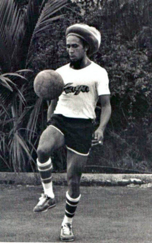 1970's - Bob Marley in soccer socks! Apparently he played a lot of soccer!