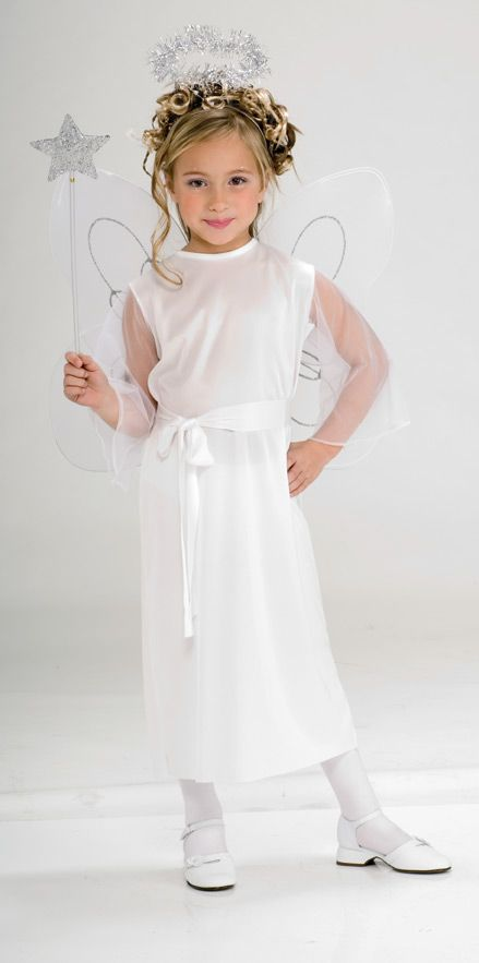Girl's Heavenly Angel Costume - This is a simple elegant angel Halloween costume. The dress is slightly stretchy, long and white. The sleeves are wide ¾ length and sheer white. There is a long white tie-belt to tie around the waist. This costume also comes with a headband halo. The halo is silver tinsel. This angel outfit is not only a good Halloween costume but could also be worn for a Christmas / nativity pageant.  #halloween #christmas #angel #kids #children #yyc #calgary #costume