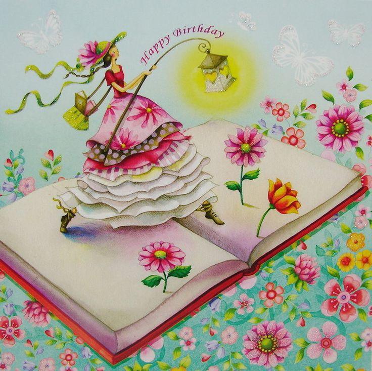 **Nina Chen**Postkarte 14x14 Glitzer*Buch*Blumen-Wiese*Blüten*Laterne*Grußkarte* | eBay