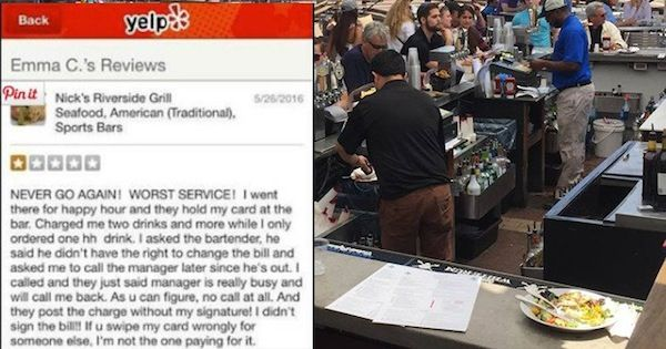 yelp reviewer pooped her pants, negative yelp review poop, nick's riverside grill yelp review