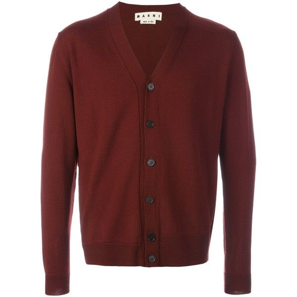 Marni v-neck cardigan ($690) ❤ liked on Polyvore featuring men's fashion, men's clothing, men's sweaters, red, mens cardigan sweaters, mens vneck sweater, men's v neck sweater, mens red sweater and mens v neck cardigan sweater